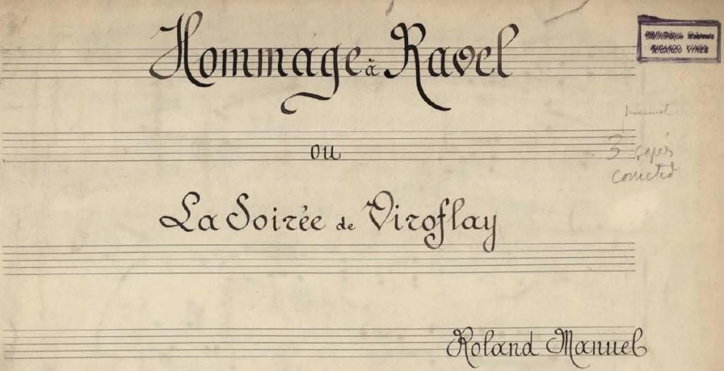 Hommage à Maurice Ravel Roland Manuel